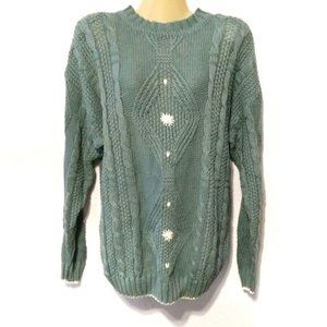 Vintage Tarazzia teal heavy cable knit sweater